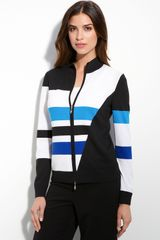 St. John Collection Colorblock Knit Bomber Jacket - Lyst