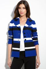 St. John Collection Stripe Bouclé Knit Blazer - Lyst
