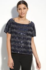 Vince Camuto Sequin Stripe Top - Lyst