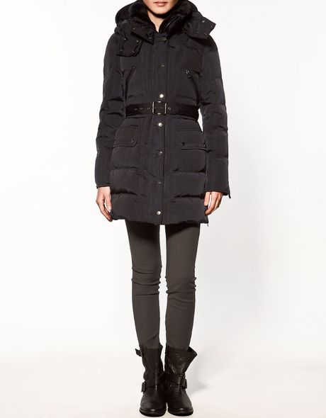 Zara Quilted Three Quarter Length Ottoman Jacket In Black