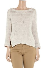 Inhabit Open Knit Cotton Blend Sweater in Beige (white) - Lyst