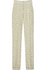 Runway To Green Ysl Cropped Jacquard Pants - Lyst