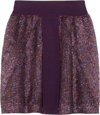Runway To Green Pringle Of Scotland Sequined Merino Wool Skirt - Lyst
