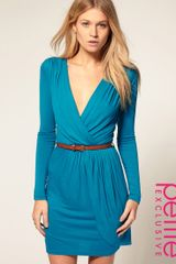 ASOS Collection Asos Petite Exclusive Long Sleeve Belted Wrap Front Dress - Lyst