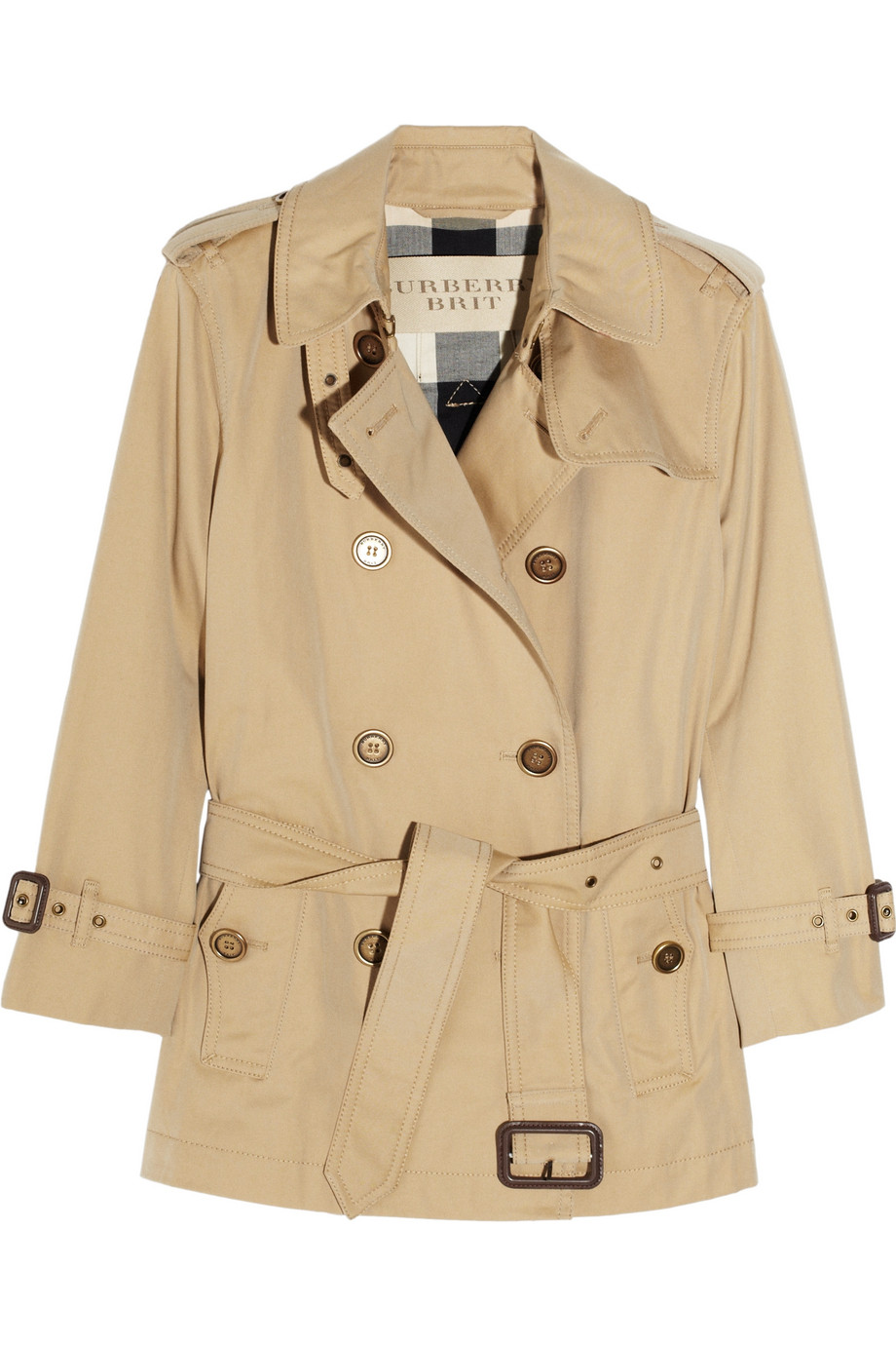Burberry Brit Short Trench Coat In Beige