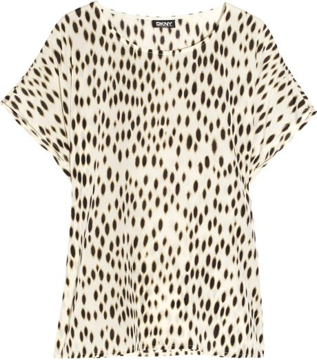 Dkny Animalprint Stretchsilk Top in Animal - Lyst