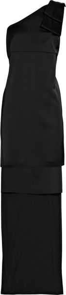 Stella Mccartney Oneshoulder Satin Dress in Black - Lyst