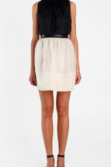 Tibi Silk Organza Skirt with Leather Trim - Lyst