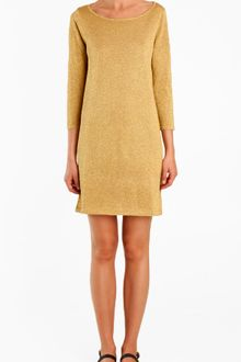 Tibi Metallic Long Sleeve Sweater Dress - Lyst