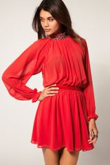 Asos Collection Asos Dress with Embellished Neck in Red - Lyst