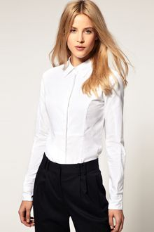 ASOS Collection Asos Fitted Shirt with Textured Panel - Lyst