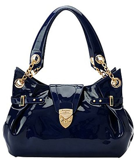 Aspinal Barbarella Patent Leather Handbag Navy Blue in Blue (navy)