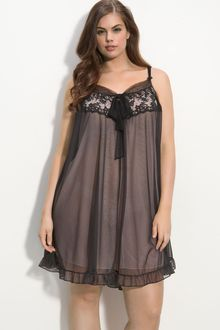 Betsey Johnson Lace & Tulle Chemise (plus) - Lyst