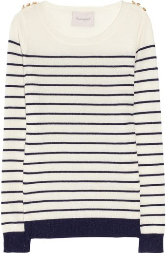Crumpet Sparkle Striped Cashmere Sweater - Lyst