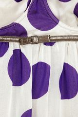 Dolce & Gabbana Leathertrimmed Silkblend Top in Purple - Lyst