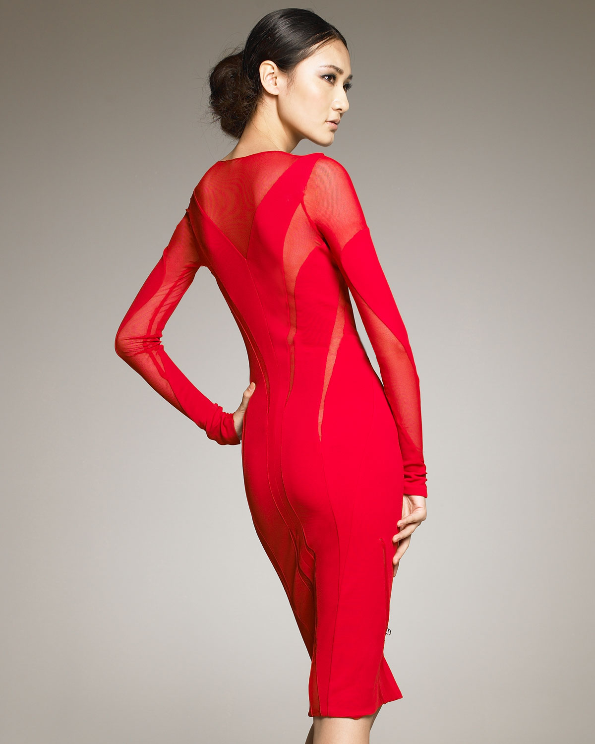Donna karan Sheer-inset Dress in Red | Lyst