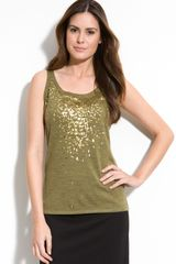 Eileen Fisher Sequin Trim Tank - Lyst