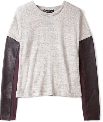 Elizabeth And James Heather Grey Double Faced Knit Sweatshirt - Lyst