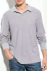 James Perse Long Sleeve Polo Shirt - Lyst