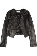 Kelly Bergin Croc-effect Leather Jacket - Lyst