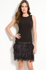 Michael by Michael Kors Feather Trim Dress