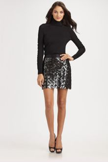 Milly Paillette-trimmed Mini Skirt - Lyst