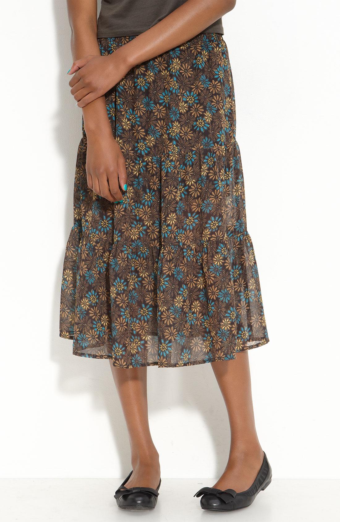 mimi chica tiered printed chiffon midi skirt juniors in