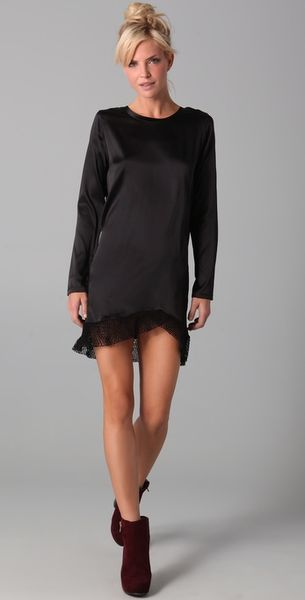 Nightcap Clothing Fishnet Silk Dress in Black - Lyst