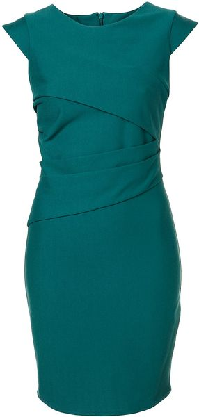 Topshop Ponte Pleated Bodycon Dress - Lyst