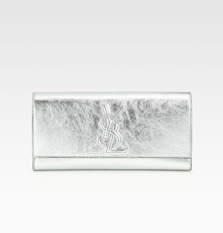 Saint Laurent Ysl Large Metallic Clutch in Silver