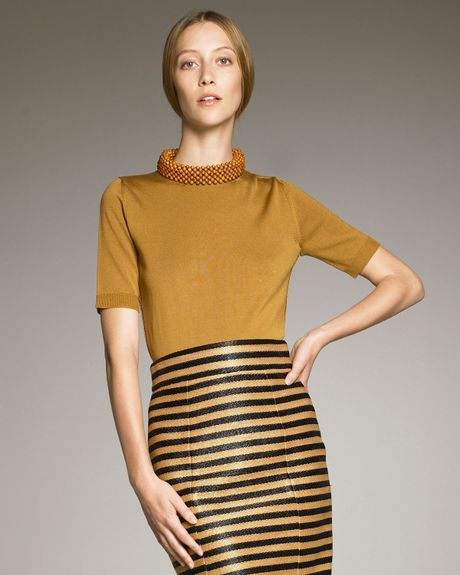 Burberry Prorsum Beadneck Shortsleeve Sweater in Orange - Lyst