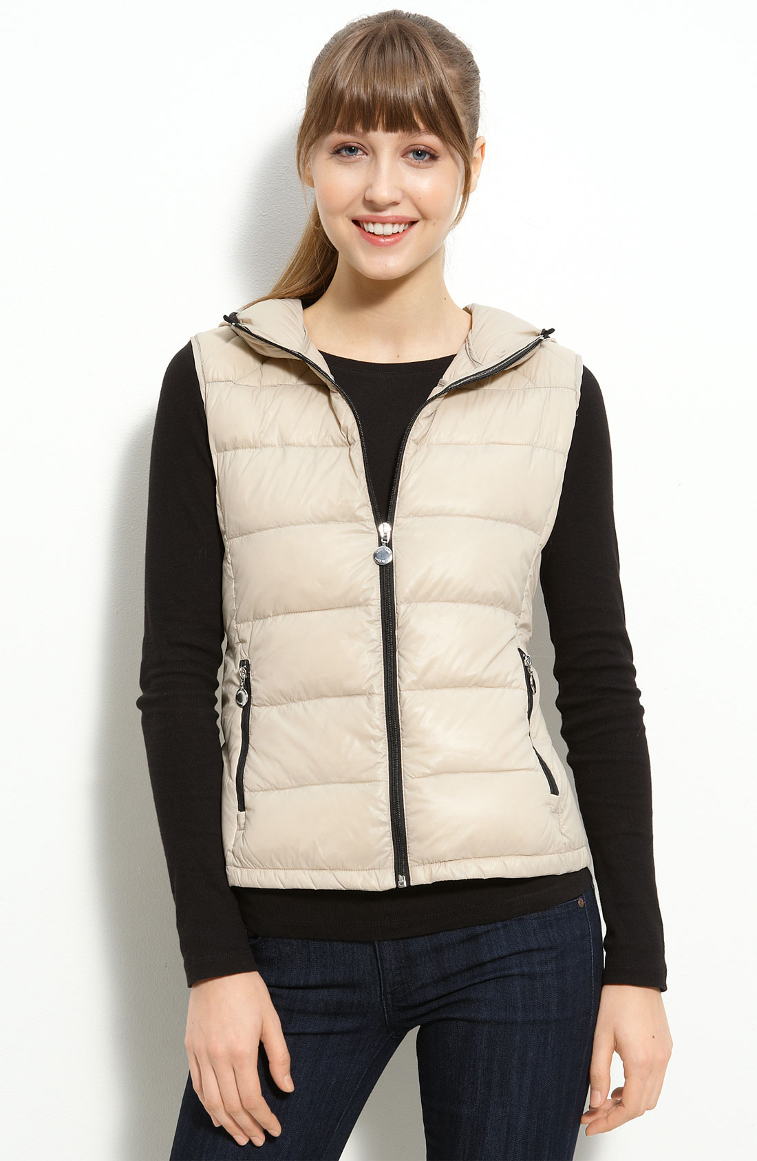 Calvin Klein Hooded Packable Down Vest In Beige Flax Lyst