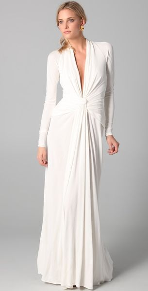 Issa Long Sleeve Open Back Gown - Lyst