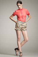 Jason Wu Printed Silk Shorts - Lyst