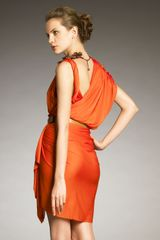 Lanvin Draped Fauxwrap Dress in Orange - Lyst