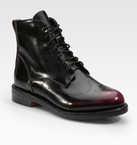 Rag & Bone Wessex Patent Leather Laceup Ankle Boots in Black - Lyst