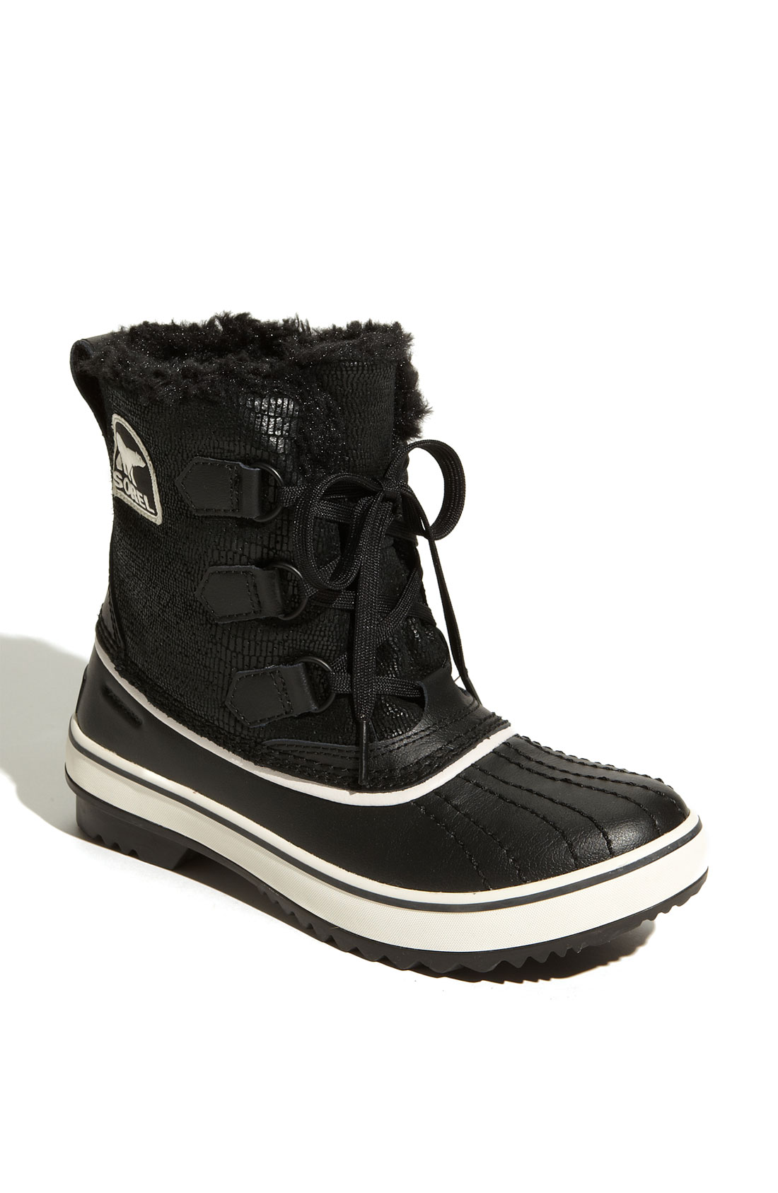 sorel tivoli waterproof boot in black black white lyst