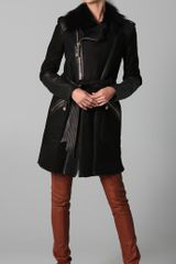 Temperley London Sofia Sheepskin Coat in Black - Lyst