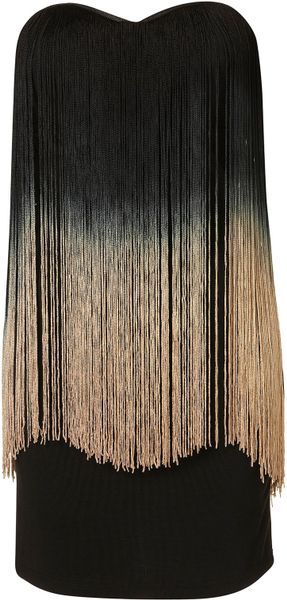 Topshop Fringe Bandeau Dress By Rare** in Black - Lyst