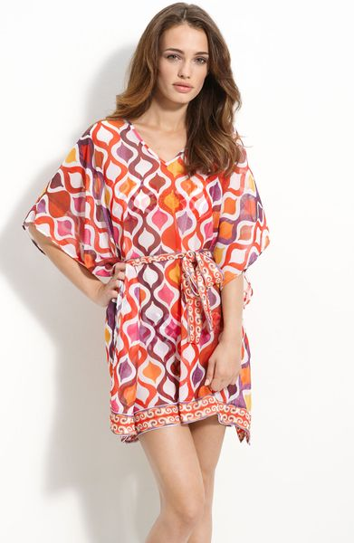 Trina Turk Ogee Sheer Caftan Cover-up in Red