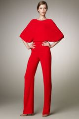 Valentino Crossback Cady Jumpsuit in Red - Lyst