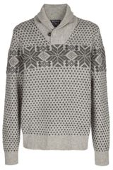 Woolrich Patterned Shawl Collar Sweater - Lyst