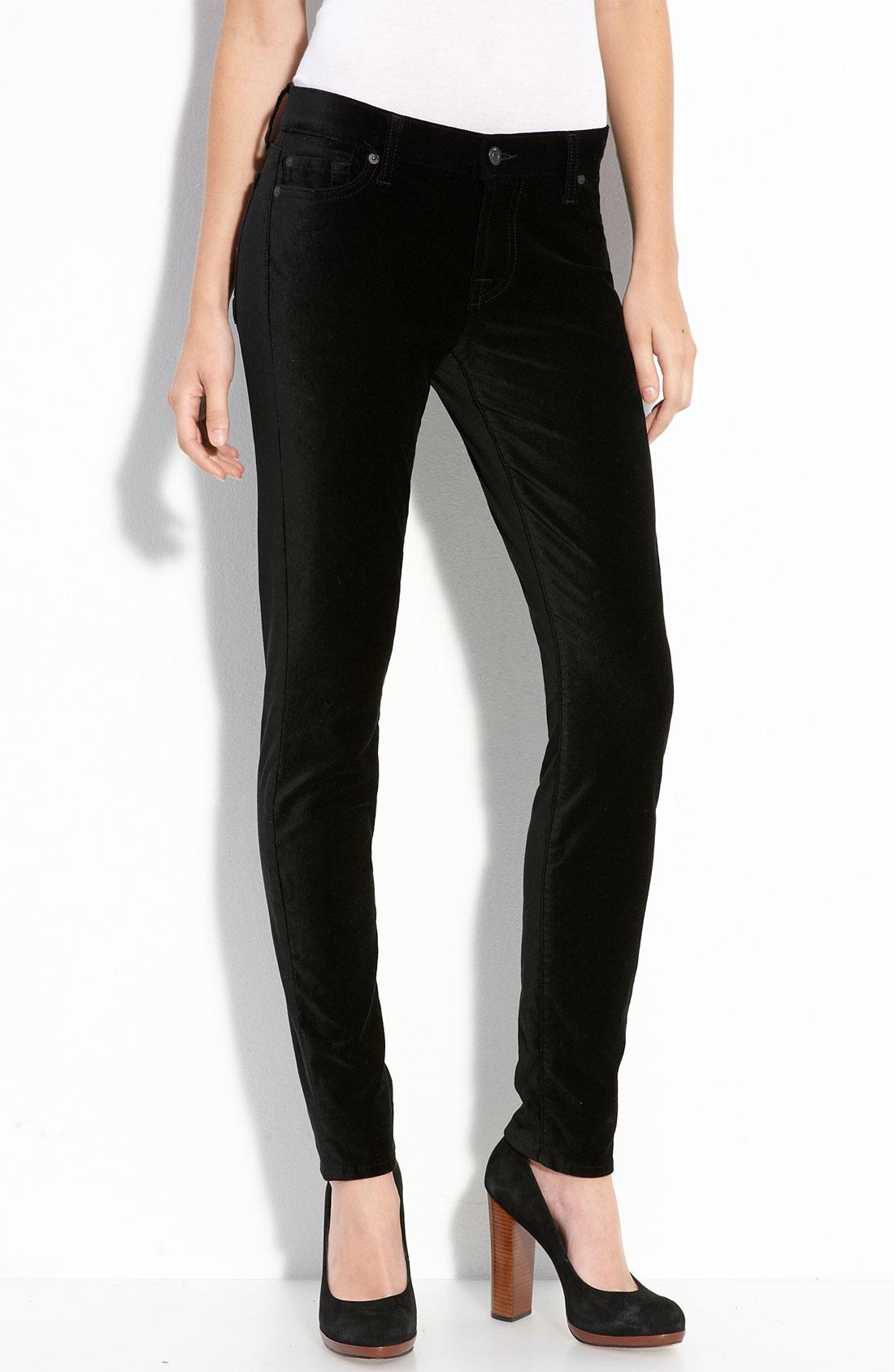 7 for all mankind Velvet Skinny Jeans in Black   Lyst