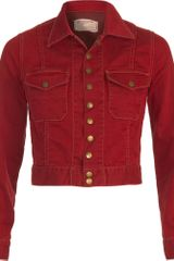 Current/Elliott Denim Snap Jacket -red - Lyst