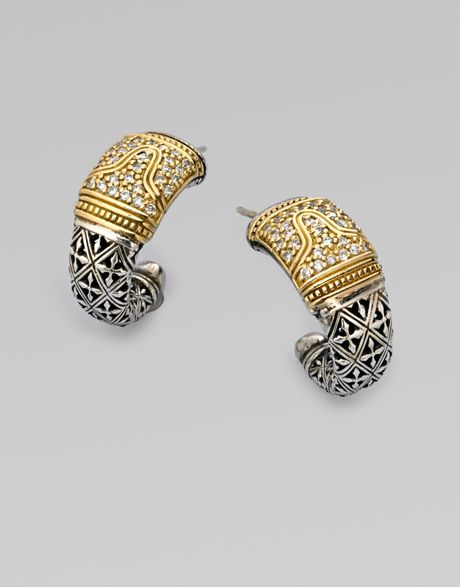 Konstantino Sterling Silver & 18k Gold Diamond Jhoop Earrings in Gold (silver) - Lyst