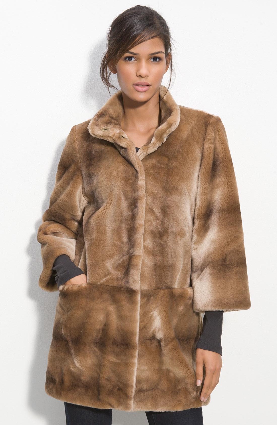 Tahari Kris Faux Fur Coat in Brown | Lyst