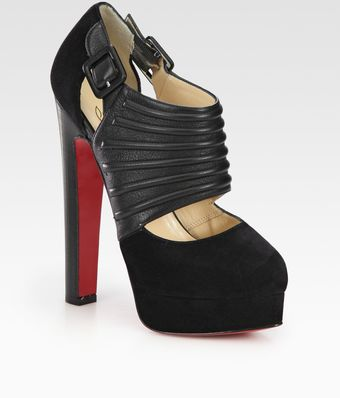 Christian Louboutin Bye Bye Leather and Suede Cutout Ankle Boots - Lyst