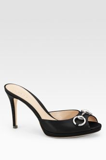 Gucci Hollywood Leather Horsebit Peep Toe Sandals - Lyst
