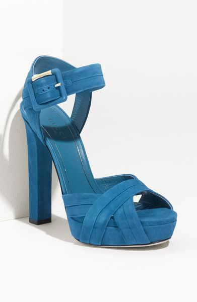 Gucci Jamie Suede Chunky Platform Sandal in Blue