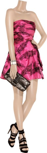 Juicy Couture Flock Print Silk Satin Dress In Pink Lyst
